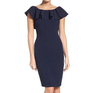 Eliza J Ruffle Sheath Dress NAVY Size 4p